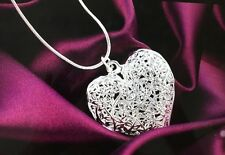 silver plated jewelry charm retro exquisite hollow heart pendant necklace 18 in