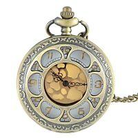Vintage Bronze Hollow Pocket Watch Retro Quartz Necklace Golden Dial Pendant Men