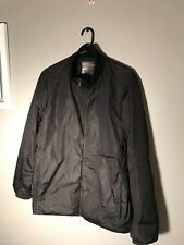 PRADA Black Solid Polyester Full Zip Windbreaker Jacket Coat TG 50 EUC