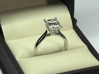 2.50 Ct Diamond Engagement Ring 14K Solid White Gold Wedding Rings Size 5 6 7