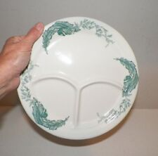 """VINTAGE IROQUOIS CHINA RESTAURANT WARE TEAL BANANA LEAF DIVIDED PLATE 9 5/8"""""""