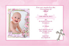 10 Personalised Baby Girl Christening Invitations / Thank You Cards