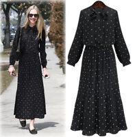 Korean Polka Dot Vintage Shirt Dresses Women Autumn A Line Fashion Maxi Dr TRF