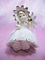 *RARE VTG* Lefton Bloomer Daisy Flower Parasol Girl Angel w Orig Tag Figurine EX