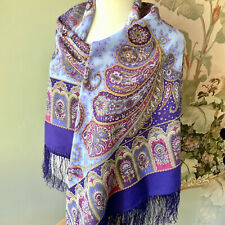 Russian Authentic Pavlovo Posad Shawl Scarf New Wool Favorite purple silk fringe