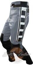 Pantaloni grigi per motociclista pelle