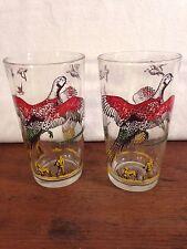 HAZEL ATLAS Pheasant Bird Hunting Drinking Juice Glasses Set of 2 (C4)