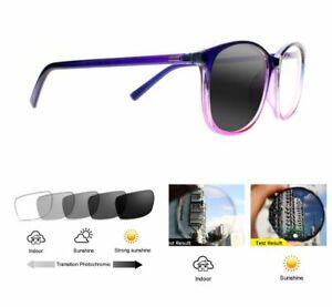 Women's Purple Emerald Photochromic Nearsighted Myopia Glass -25 -225 to -800