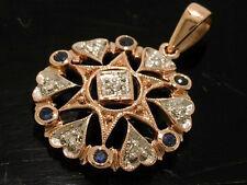 P033 Genuine 9K Rose Gold NATURAL Sapphire & Diamond Pendant Vintage star style