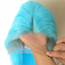 "24"" Heat Resistant Hair Lace Front Wig Natural Straight Handtied Sky Blue"