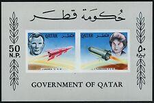 Viajes espaciales space qatar 1966 bloque I gagarin Tereshkova unissued S/s mnh/674