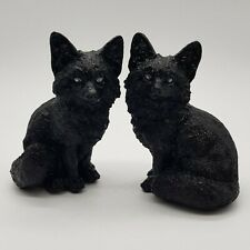 Gothic black wolves wolf ornament figurines set of 2