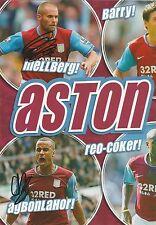 Aston Villa: MELLBERG, Barry & agbonlahor firmato doppio A4 MAGAZINE FOTO + COA