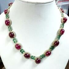 Unique Design Cabochon 131.40ct Ruby & Marquise 6.10ct Emerald 925 SS Necklace