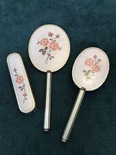 Vintage Vanity Floral Embroidered Hand Mirror Brush Set