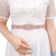Iron on Wedding Bridal Belt Crystal Rhinestone Applique Trim Rose gold for Prom