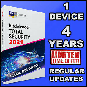 BITDEFENDER TOTAL SECURITY 2021 - 4 YEAR 1 DEVICE ACTIVATION  -OFFICIAL DOWNLOAD