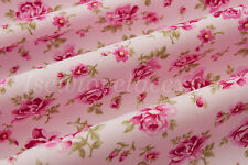 Pink Rose Floral Fabric~By the Metre~Crafts~Dressmaking~Shabby Chic~100% Cotton