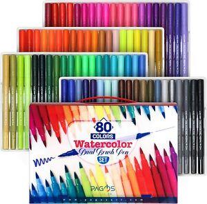 Pagos 80 Colors Dual Brush Pens Set Watercolor set Art Markers for Drawing