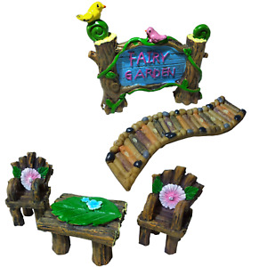 Boxed Fairy Garden Ornaments Table Chairs Furniture Sign Path Pixie Accessories