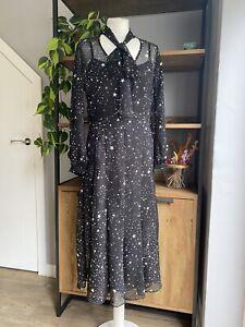 Wallis Size 8 - 10 Black Star Print Tie Neck Midi Dress with Slip BNWOT