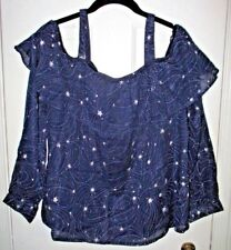 Anthropology COLD SHOULDER Long Sleeve Navy Celestial Top SIZE M New with Tags