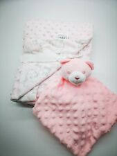 Personalised Baby teddy Dimple comforter Blanket / gift set Embroidered Boy Girl