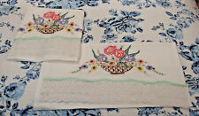 VTG 100%Cotton Tubing pair/Pillowcases Hand Embroidered w/Basket of Flowers, NEW