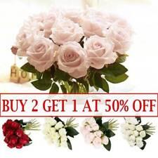18Heads Rose Artificial Silk Flowers Fake Bunch Bouquet Wedding Party Decor Home