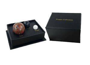 Cosmic Gemstone Collection Box Natural Polished Rock Stones Sun Earth Moon