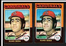 Lot (2) 1975 Topps Set Break #398 Elias Sosa St. Louis Cardinals Baseball Team