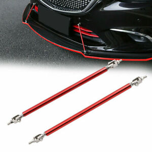 "2x Adjustable 8""-11"" Front Bumper Lip Splitter Diffuser Strut Rod Tie Bars Red"