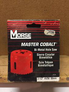 """Vintage Morse 3 1/2""""-89mm Master Cobalt Bi Metal Hole Saw Cutter AV56 USA"""