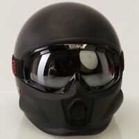 VIPER RS07 TROOPER MATT BLACK OPEN FACE MOTORCYCLE URBAN HELMET WITH GOGGLES