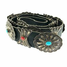 Navajo Sterling Silver Turquoise & Coral Stamped Concho Narrow Leather Belt
