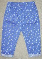 GIRLS BLUE COTTON TURN UP TROUSERS WITH BOW PRINT FROM THE EMMA BUNTON RANGE