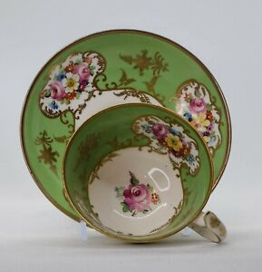 English Early Hand Painted Cup & Saucer Coalport