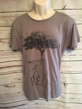 """1991 by Cotton On Med crewneck thin trim T-shirt """"RELAX"""" Tree Root Graphic"""