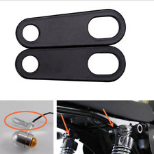 2pc Universal Motorcycle Black Relocation Rear Turn Signal Light Bracket Holder