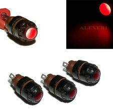 8pcs 1.5-30V Dash Panel Pilot Indicator Instrument Light Lamp Red + E10 Bulbs