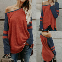 Womens Off Shoulder Loose Pullover Tops Sweatshirt Sweater Casual Blouse Jumper