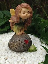 Miniature Figurine FAIRY GARDEN ~ Fairy Girl on Heart Rock Kissing Frog ~ NEW