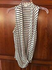 Ella Moss Surplice Front Top Indigo & Natural Striped Cotton Blend NWT Size S