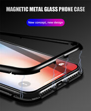 Fall Sale! iPhone X Magnet Adsorption Metal Bumper Case Tempered Glass
