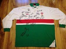Gales Rugby Camiseta/Camiseta Firmada/Maillot Leones-Look!!!