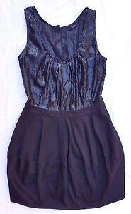 EX CON Bardot Size 10 LBD Black Dress Sequin Mini Sleeveless Party Event Evening