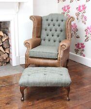 Chesterfield Queen Anne Wing Chair & Footstool in Vintage Leather & Harris Tweed