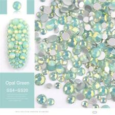 Opal Jelly Green 3D Nail Art Rhinestones Mix Size Flat Back Manicure Tips DIY