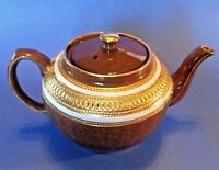 Sadler Teapot - Brown Tortoiseshell With White And Embossed Gold Bands - England