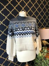 Zara Cream Blue Shimmer Argyle Chunky Sweater Jumper MEDIUM BNWT